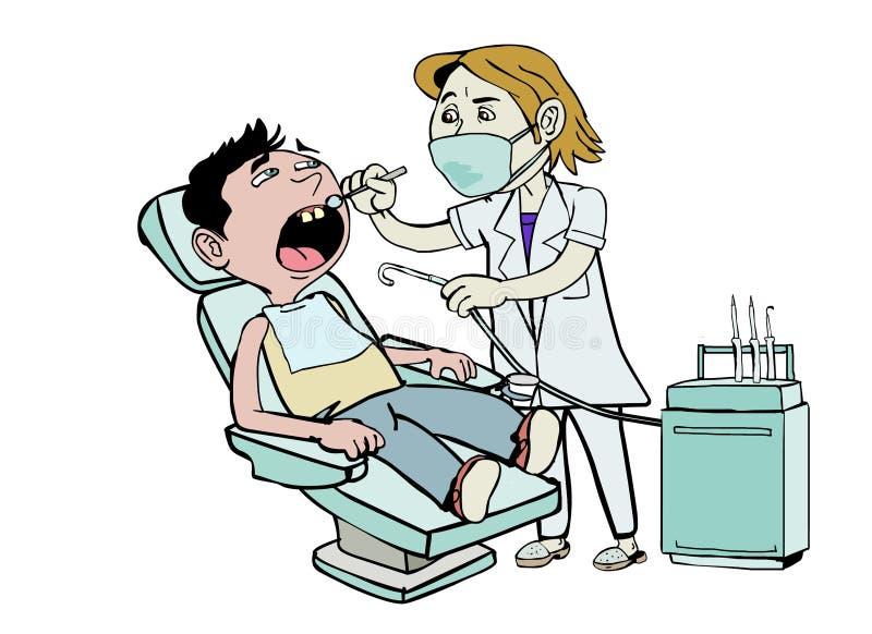 检查牙的年轻牙医 向量例证