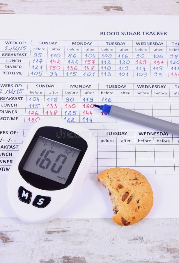 检查的糖水平和曲奇饼Glucometer在医疗形式,糖尿病,吃甜点的减少 图库摄影