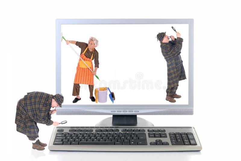 检查计算机高技术病毒 库存照片
