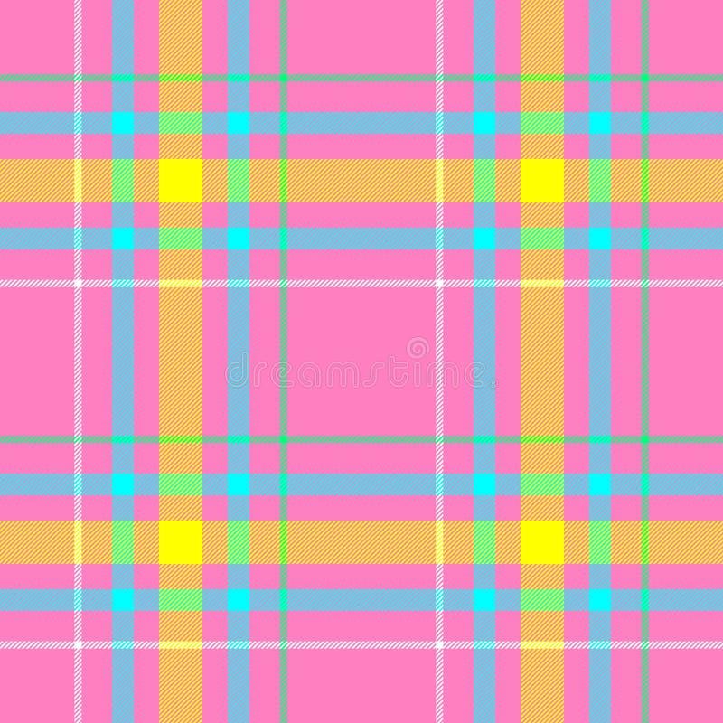 检查金刚石格子花织品无缝的样式背景-粉红彩笔、黄色,蓝色,绿色和白色颜色 皇族释放例证