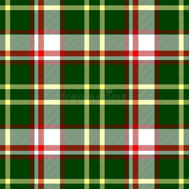 检查金刚石格子花织品无缝的纹理背景-绿色,红色,白色和黄色颜色 库存例证