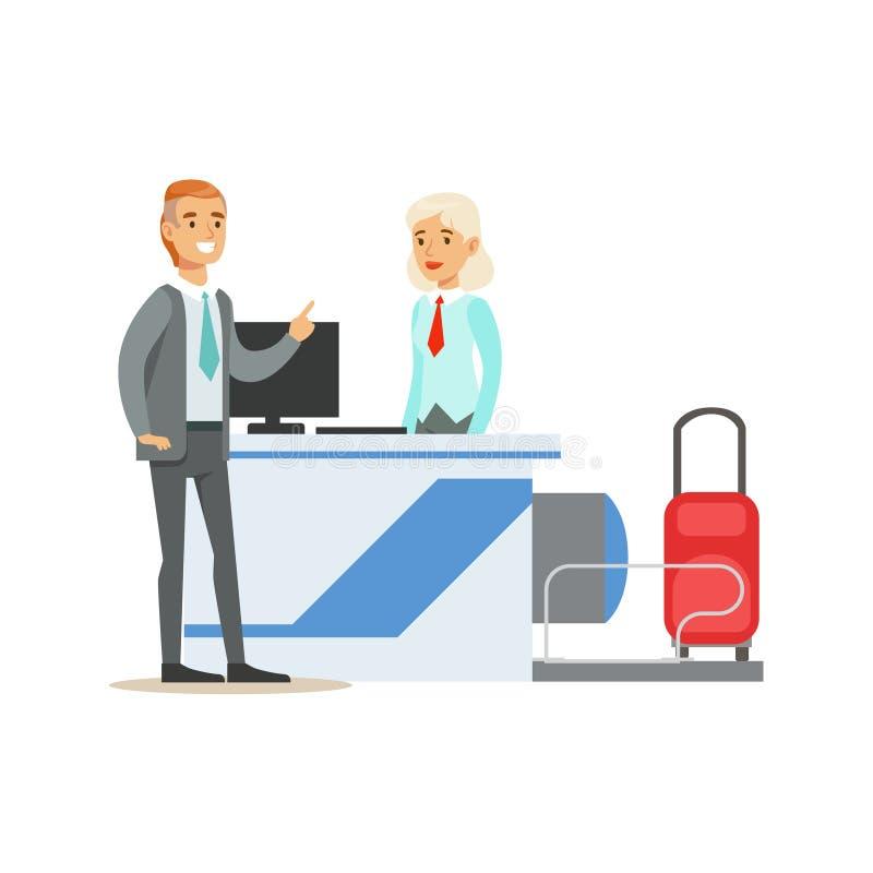检查飞行在注册柜台,一部分的机场和传染媒介航空旅行相关场面系列的人  库存例证