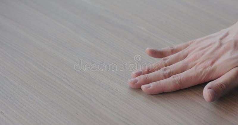 检查黑核桃木表面的木工 免版税库存照片