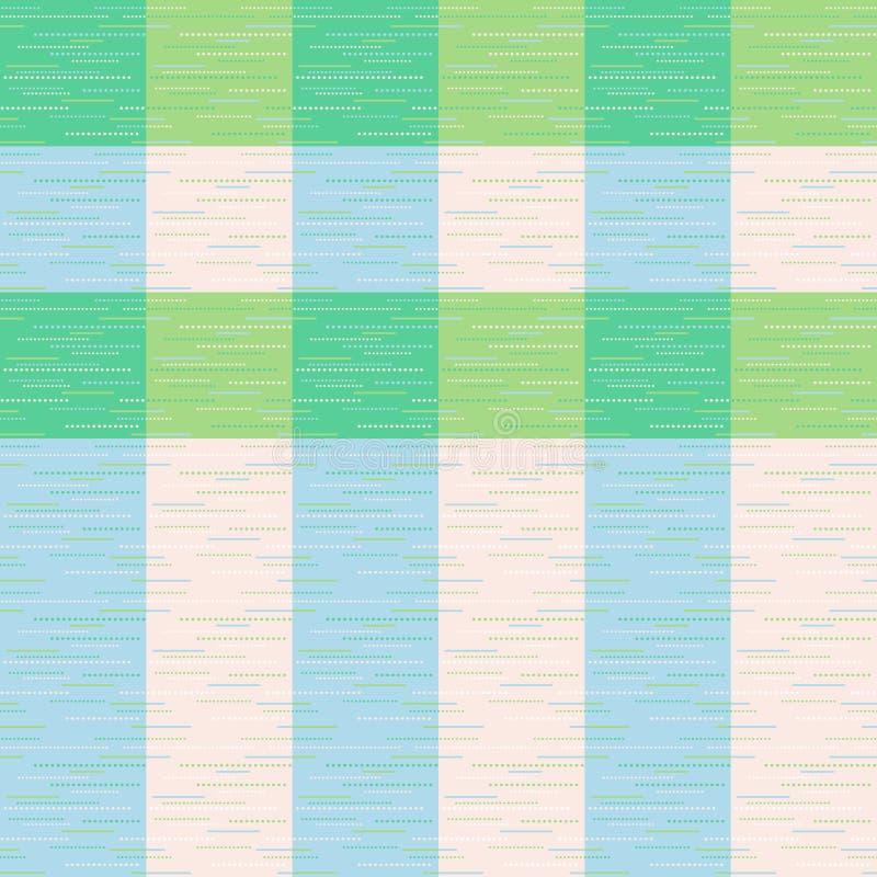 检查,格子呢、格子花呢披肩或者镶边的无缝的样式在绿色,蓝色和奶油色颜色 皇族释放例证