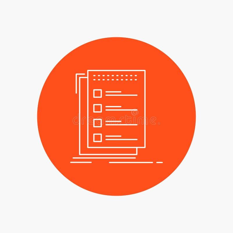 检查,清单,名单,任务,做空白线路象在圈子背景中 r 库存例证