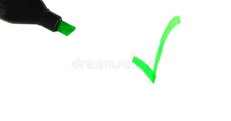 检查绿色标记 免版税库存图片