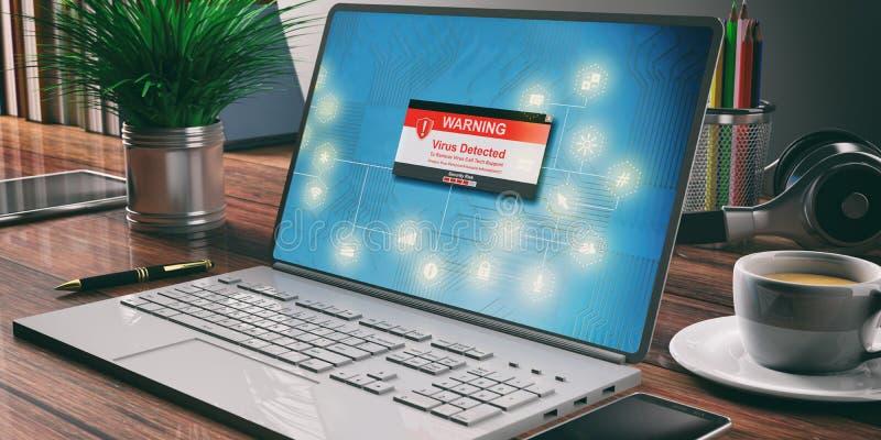 检测的病毒,互联网安全概念 计算机膝上型计算机,办公室背景 皇族释放例证