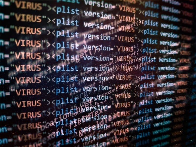 检测的病毒,报警信息 扫描和辨认在二进制编码目录里面的计算机病毒 库存图片