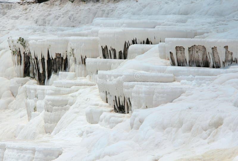 棉花堡-棉花城堡,代尼兹利省在西南土耳其 区域为流动的一种白色碳酸盐矿物是著名的 免版税库存照片