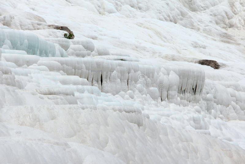 棉花堡-棉花城堡,代尼兹利省在西南土耳其 区域为流动的一种白色碳酸盐矿物是著名的 免版税图库摄影