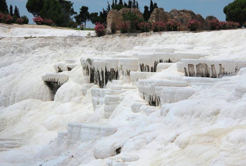 棉花堡-棉花城堡,代尼兹利省在西南土耳其 库存图片