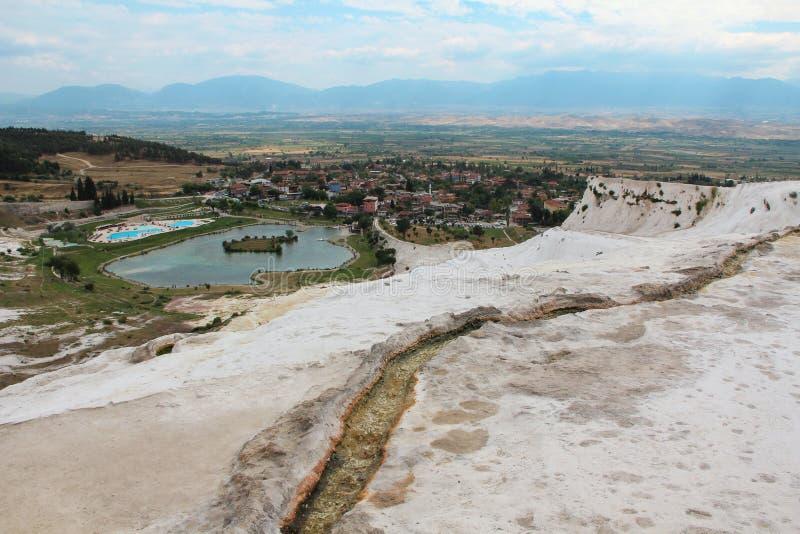 棉花堡-棉花城堡,西南土耳其人的代尼兹利省 库存图片