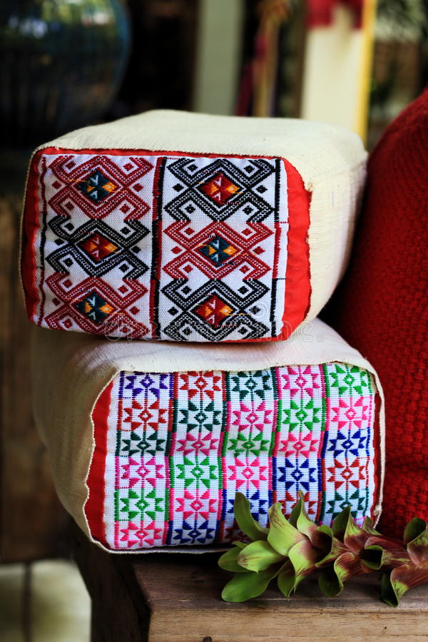 棉花枕头纺织品清迈泰国 免版税库存图片