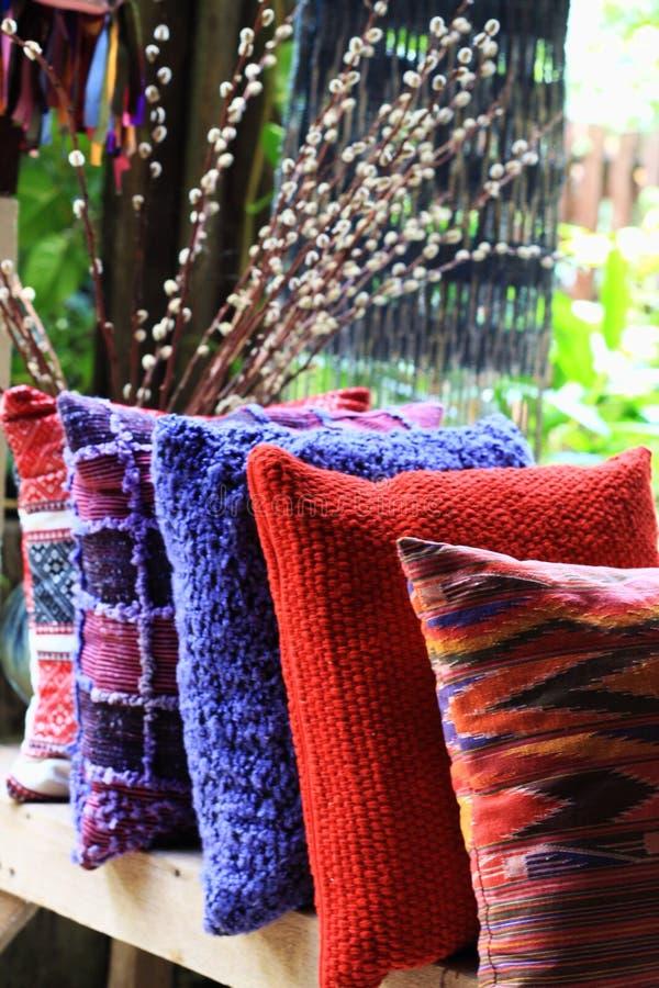 棉花枕头纺织品清迈泰国 免版税库存照片