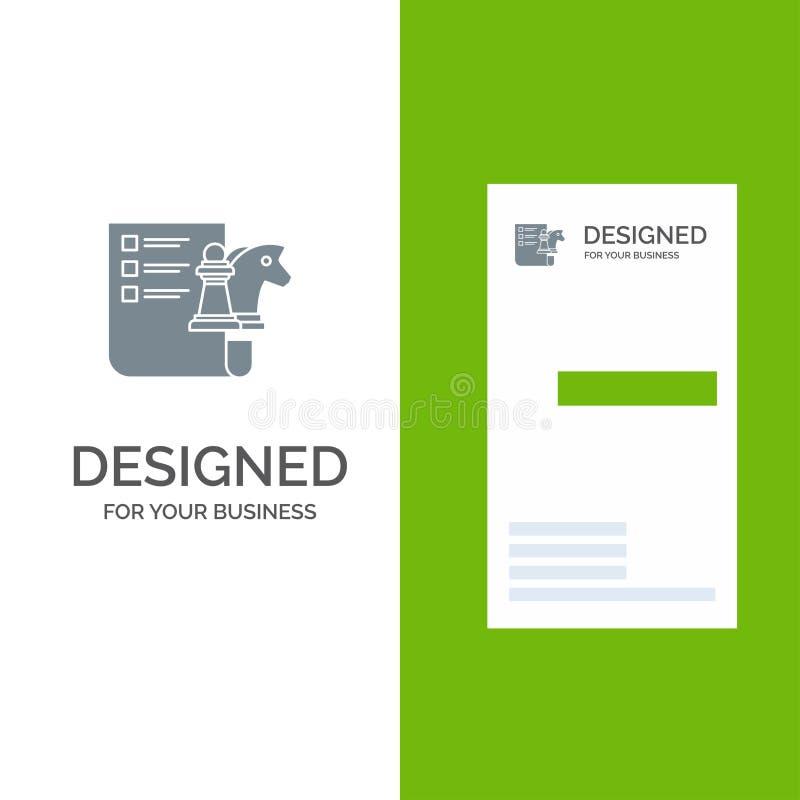 棋、事务、战略,计划灰色商标设计和名片模板 皇族释放例证