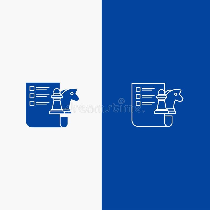 棋、企业、战略、计划线和纵的沟纹坚实象蓝色旗和纵的沟纹坚实象蓝色横幅 向量例证