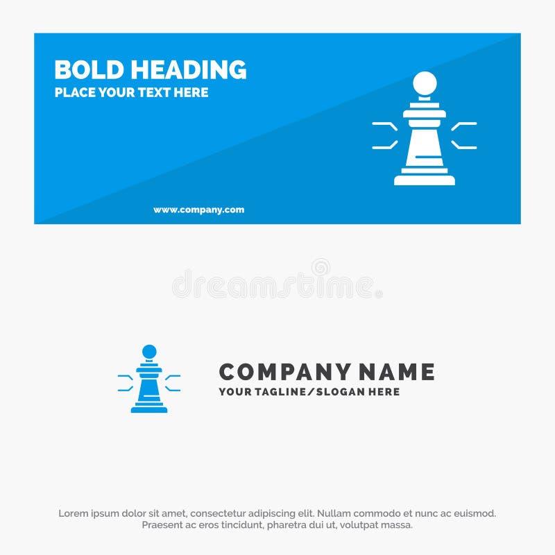 棋、好处、事务、图、比赛、战略、战术坚实象网站横幅和企业商标模板 库存例证