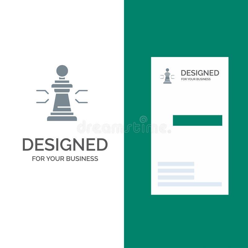 棋、好处、事务、图、比赛、战略、战术灰色商标设计和名片模板 库存例证