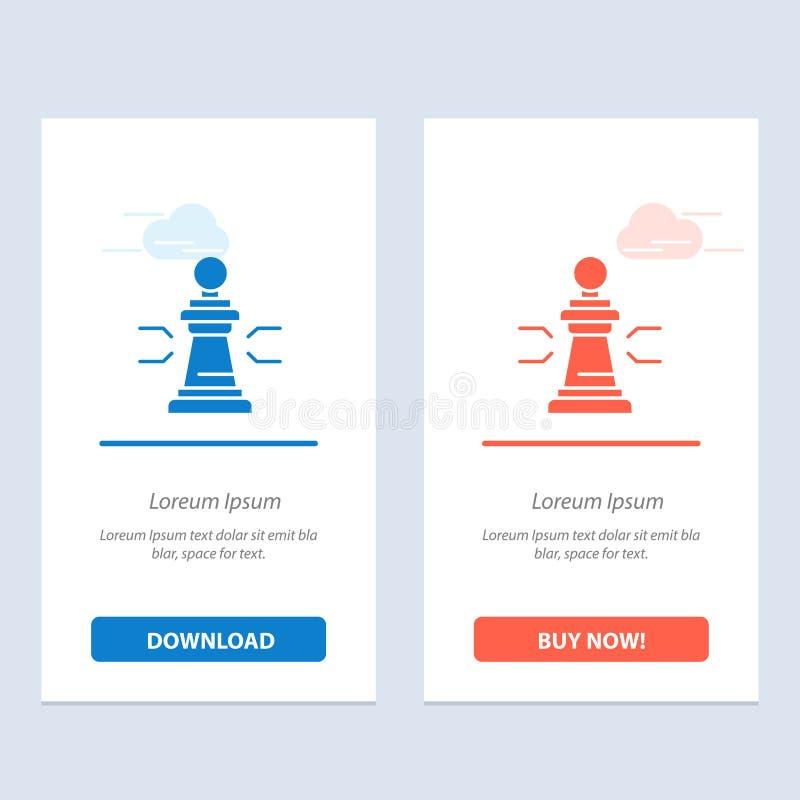 棋、好处、事务、图、比赛、战略、战术蓝色和红色下载和现在买网装饰物卡片模板 皇族释放例证