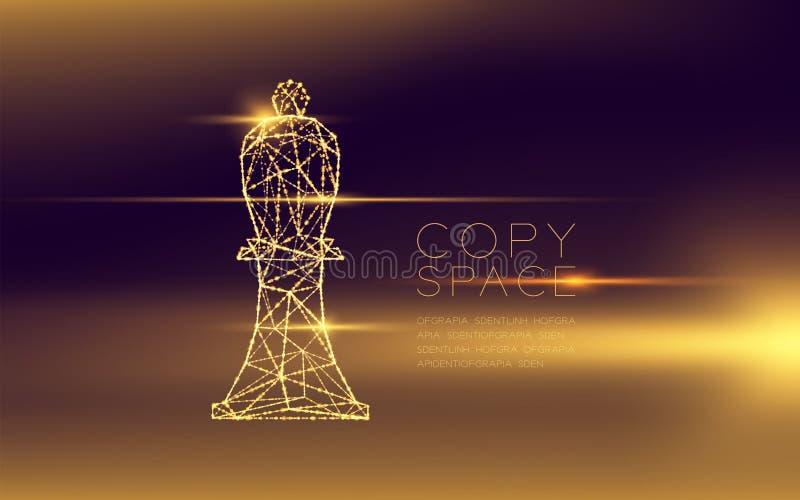 棋主教wireframe多角形未来派bokeh光框架结构和透镜飘动,经营战略构思设计illustratio 库存例证