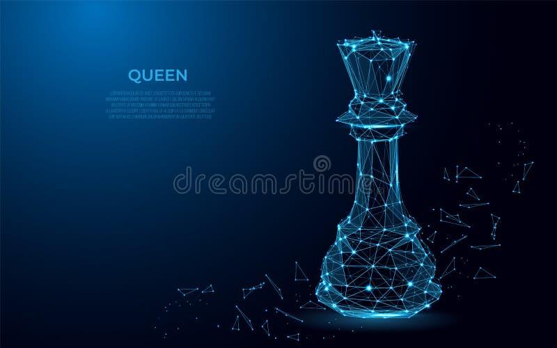 棋力量的女王/王后标志 豪华力量的抽象图象以满天星斗的天空或空间的形式 向量例证