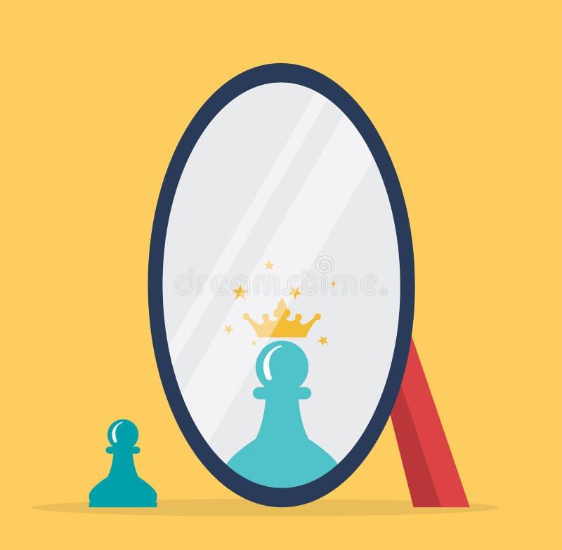 棋反射的传染媒介概念在镜子的 库存例证