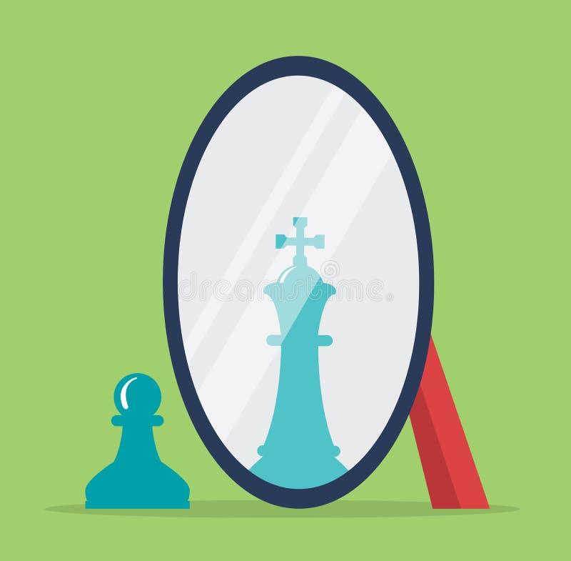 棋反射的传染媒介概念在镜子的 皇族释放例证