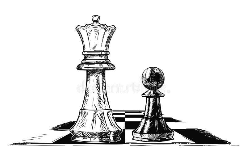棋国王和典当的传染媒介艺术性的图画例证面对的 库存例证