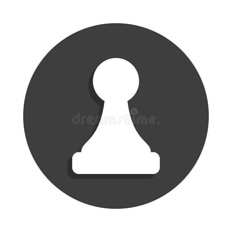 棋在徽章样式的典当象与阴影 皇族释放例证