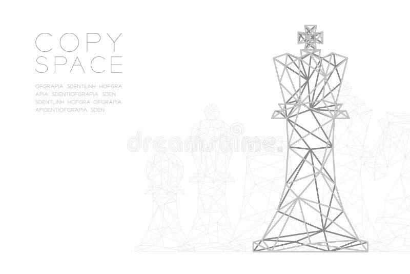 棋女王/王后wireframe多角形银框架结构,经营战略构思设计例证 向量例证
