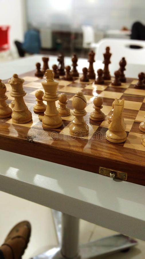 棋子看法在棋盘的 免版税图库摄影