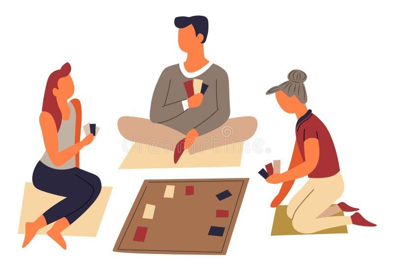 棋或戏剧卡片家庭娱乐和休闲消遣 皇族释放例证