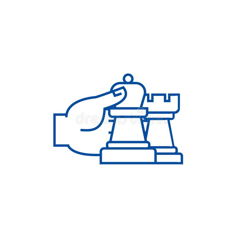 棋战略和战术排行象概念 棋战略和战术平的传染媒介标志,标志,概述例证 向量例证