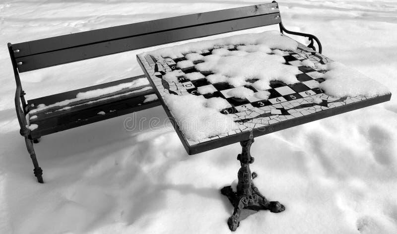 棋枰雪冬天 库存照片