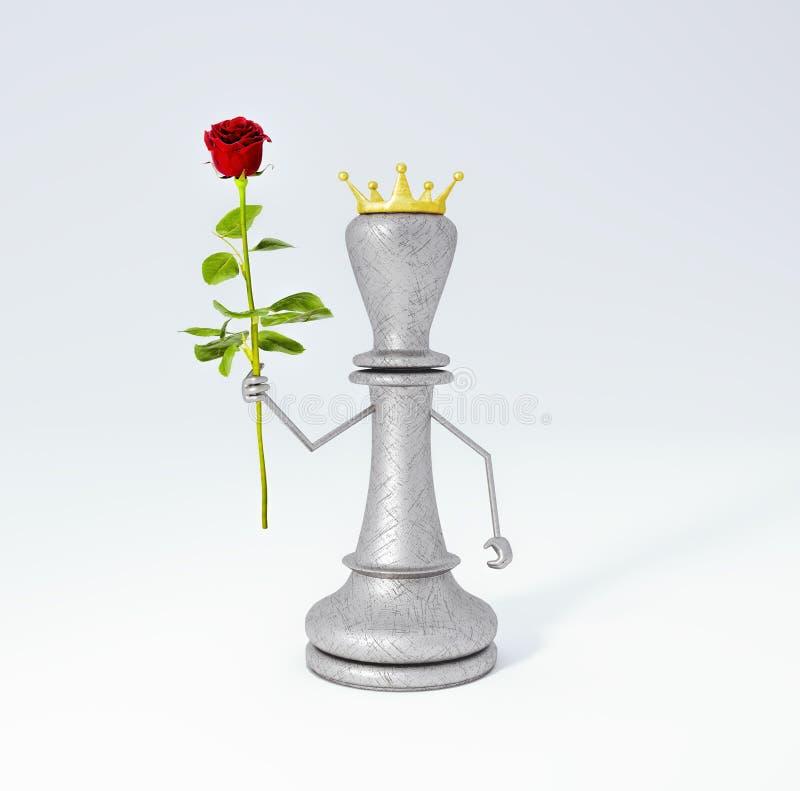 棋的国王与英国兰开斯特家族族徽3d的回报3d例证 皇族释放例证