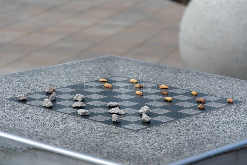 棋的棋枰或室外验查员在公园 库存照片