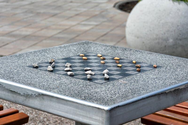 棋的棋枰或室外验查员在公园 免版税库存图片