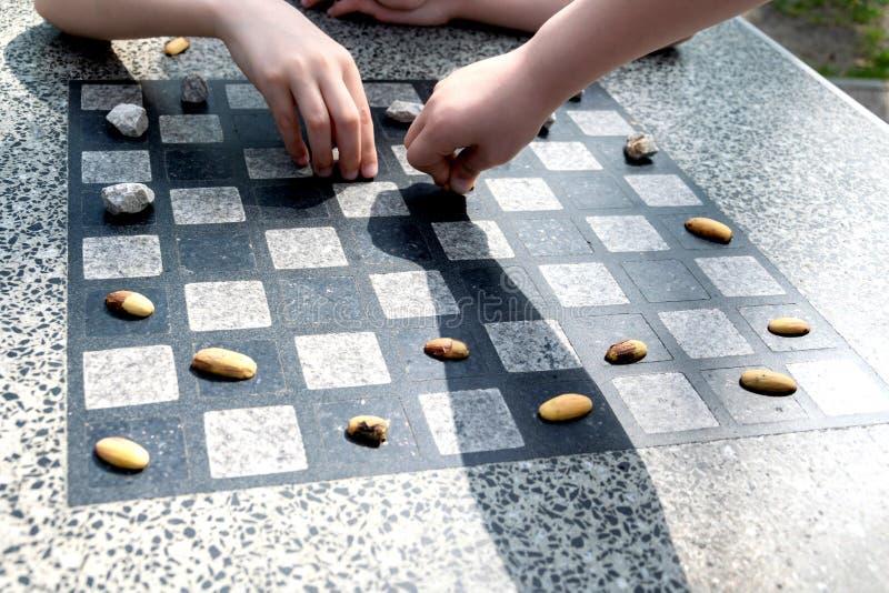 棋的棋枰或室外验查员在公园 图库摄影