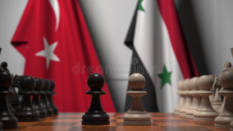 棋盘上棋子后的土耳其和叙利亚旗帜 棋局或政治竞争相关的三维渲染 库存图片