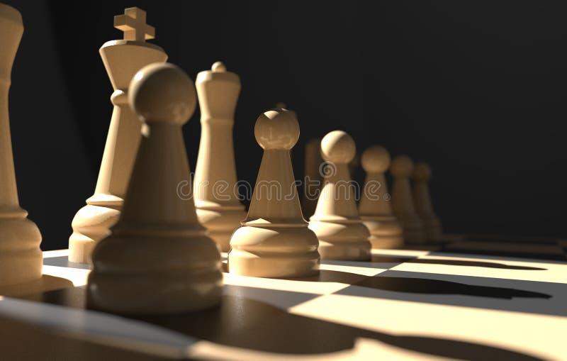 棋盘企业想法和竞争,在黑暗的3d例证的战略想法概念白色形象的比赛概念 向量例证