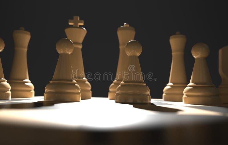 棋盘企业想法和竞争,在黑暗的3d例证的战略想法概念白色形象的比赛概念 皇族释放例证