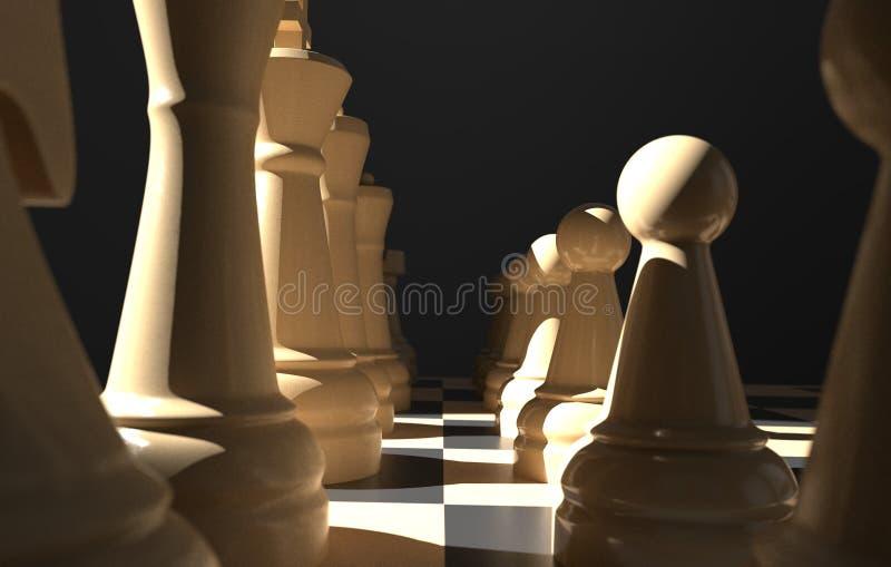 棋盘企业想法和竞争,在黑暗的3d例证的战略想法概念白色形象的比赛概念 库存例证