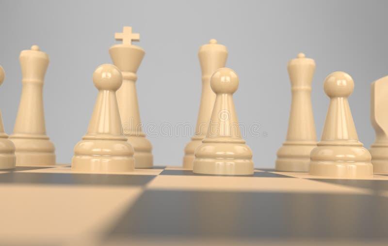 棋盘企业想法和竞争,战略想法概念白色形象3d例证的比赛概念 库存例证