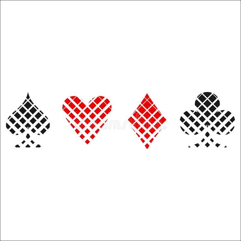 棋盘卡片衣服象传染媒介,纸牌标志 向量例证