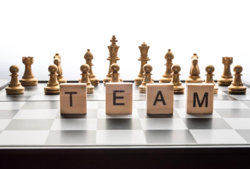棋盘和词`合作` -企业规划概念 免版税库存图片