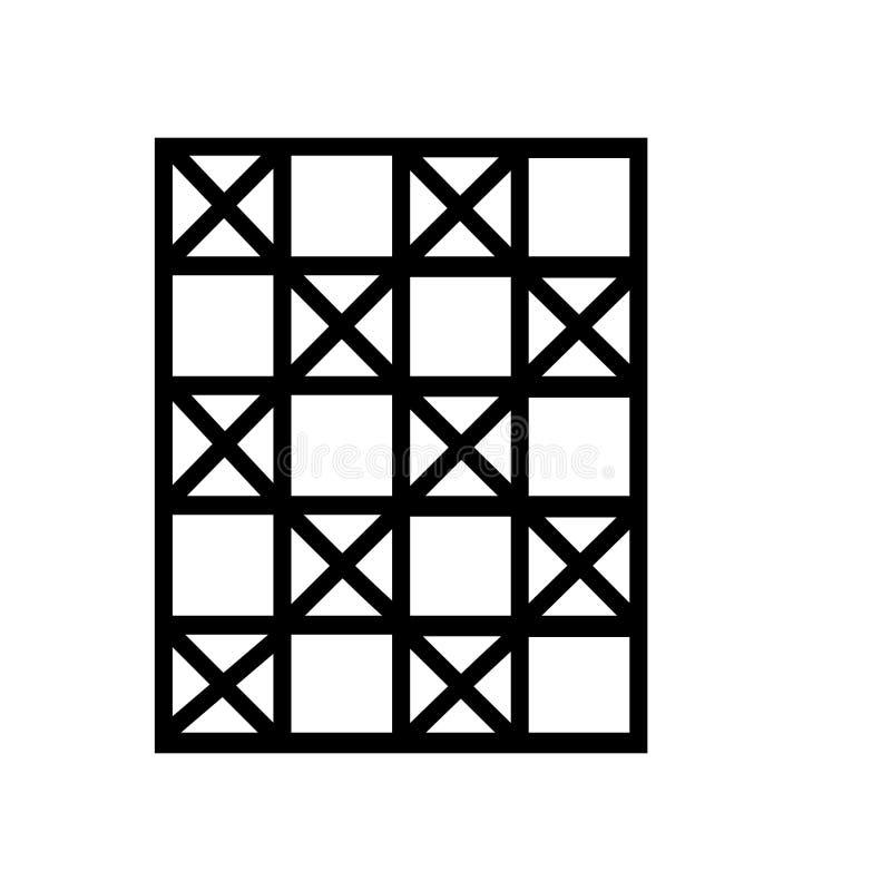 棋盘在白色背景、棋盘标志、线性标志和冲程设计元素隔绝的象传染媒介在概述样式 库存例证
