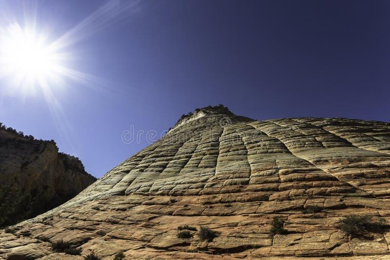 棋盘峭壁mesa国家公园砂岩风景美国犹他视图zion 库存照片
