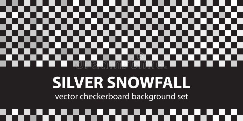 棋盘样式集合银色降雪 传染媒介无缝的backgr 向量例证