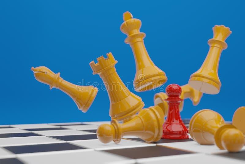 棋盘比赛,企业竞争概念,拷贝空间3D翻译 库存例证