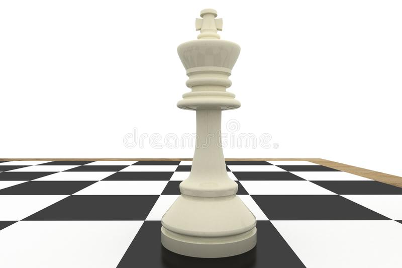 棋盘的白国王 库存例证
